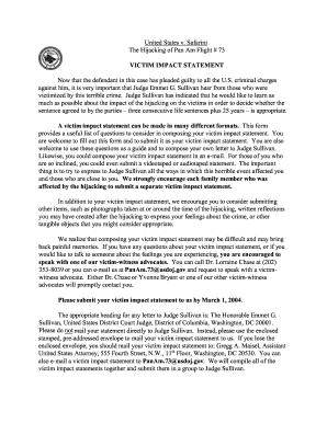 Fillable victim statement examples - Edit, Print & Download