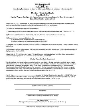 Title 20 Physical Fitness Certificate Form 2014 - doe in