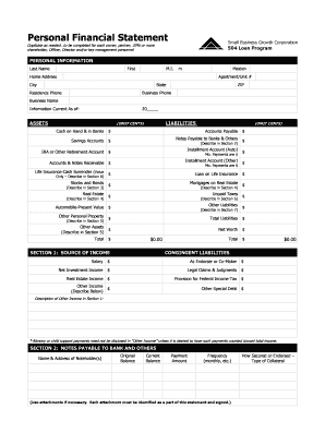 Personal Financial Statement Worksheet Forms And Templates