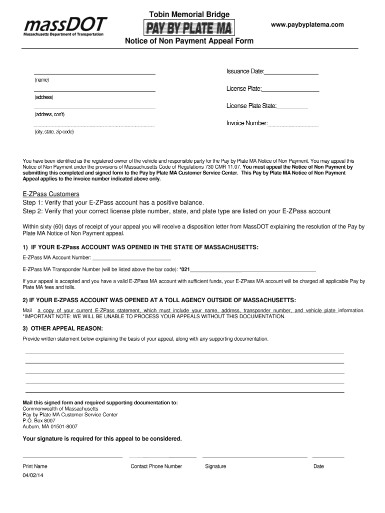 Fillable Online massdot state ma Notice of Non-Payment
