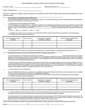 Land Disposal Notification & Certification Form - Calgon Carbon ...