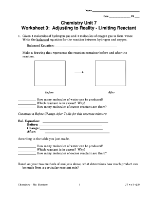 Chemistry worksheet limiting reactant worksheet
