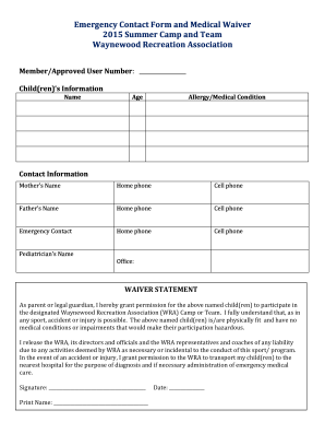 emergency contact form template for child - emergency contact form for child templates fillable