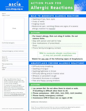 Allergic Reactions Personal Action Plan (ASCIA PDF)