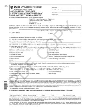 Fillable Online Duke University Hospital - MRO Corp  Fax Email Print