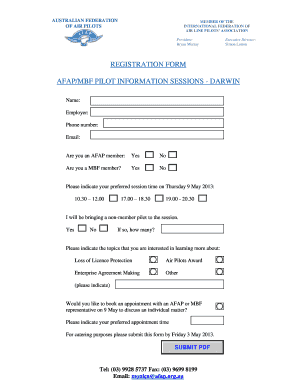 ... Federation Of Air Line Pilots Association President: Bryan Murray  Executive Director: Simon Lutton Registration Form Afap/mbf Pilot  Information Sessions ...