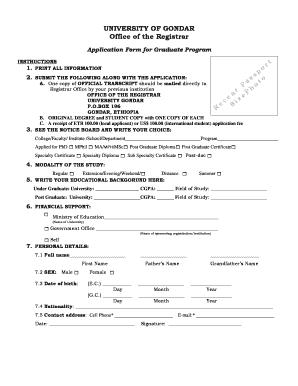 University Of Gondar Online Application Page - Fill Online