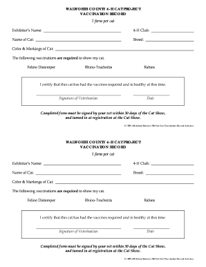 Cat Vaccination Record Form   Walworth County