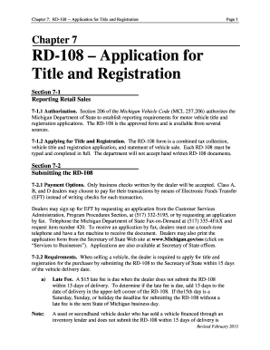 Fillable Online michigan RD-108 Application for Title and ...