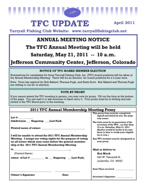 Jefferson Community Center, Jefferson, Colorado NOTICE OF TFC BOARD MEMBER ELECTION Nominations for candidates for three Tarryall Fishing Club, Inc - tarryallfishingclub