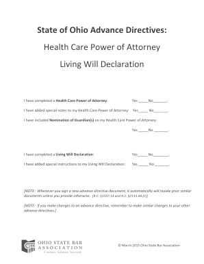 State of Ohio Advance Directives: Health Care Power of Attorney ...