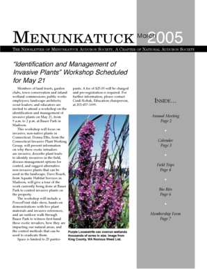MENUNKATUCK 2005 March THE NEWSLETTER OF MENUNKATUCK AUDUBON SOCIETY, A CHAPTER OF NATIONAL AUDUBON SOCIETY Identification and Management of Invasive Plants Workshop Scheduled for May 21 Members of land trusts, garden pants