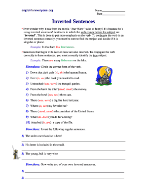Subject Verb Agreement Worksheets Forms and Templates - Fillable ...