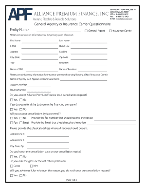 General Agency/Insurance Carrier Questionnaire - Alliance ...