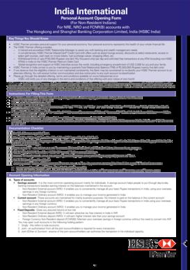 Fillable Online hsbcbusinessdirect co NRI Premier AOF_30