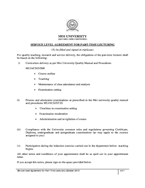 Service Level Agreement for Part-Time Lecturers - Moi University