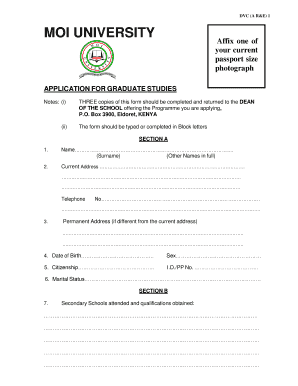 Application Form For Moi University - Fill Online, Printable