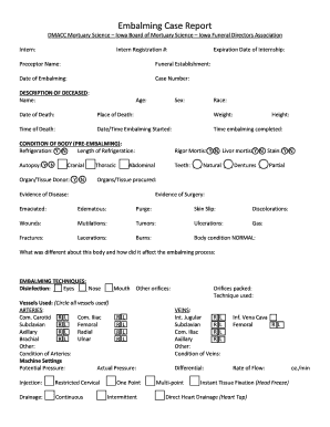 Fillable Online Embalming Case Report Fax Email Print