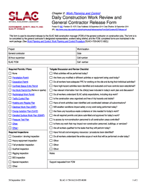 Daily Construction Work Review And General Contractor Release Form. Work  Planning And Control