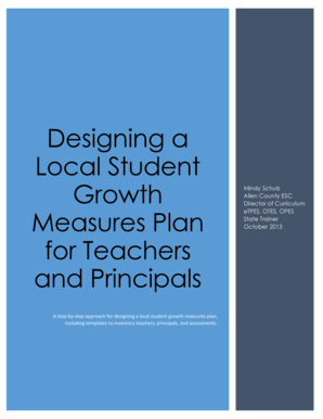 Designing a Local Student Growth Measures Plan for Teachers and Principals. Mindy Schulz Allen County ESC Director of Curriculum eTPES, OTES, OPES State Trainer October 2013 - allencountyesc