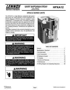 fillable online lennox air conditioner manuals hvacpartsshop com rh pdffiller com lennox air conditioner manual lennox air conditioner remote control manual
