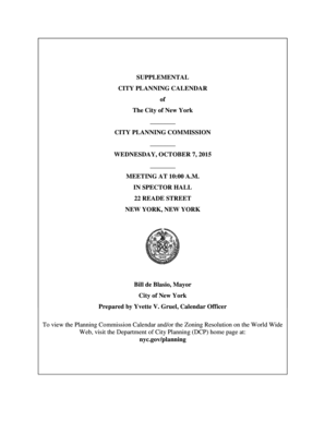 Supplemental City Planning Calendar - October 7, 2015. Commission Meeting - nyc