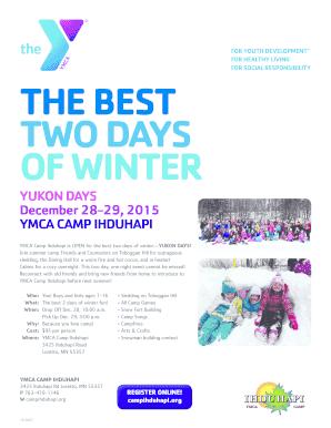 Fillable Online ymcatwincities YUKON DAYS December 28-29