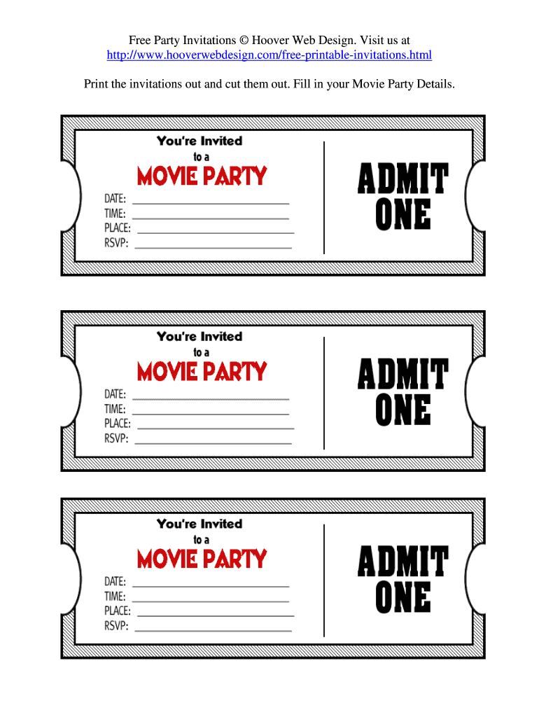 This is an image of Shocking Printable Movie Tickets