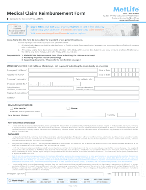 In-Patient Medical Reimbursement Claim Form - MetLife Bahrain