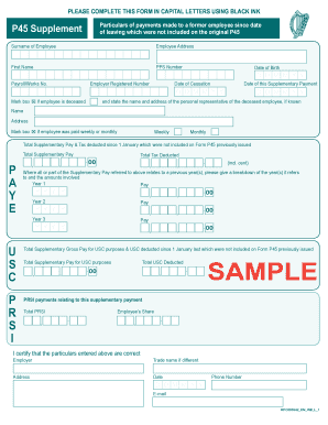 Sample Form P45 Supplement - revenue