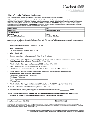 Fillable Online Prior Authorization Criteria Form - Blincyto ...