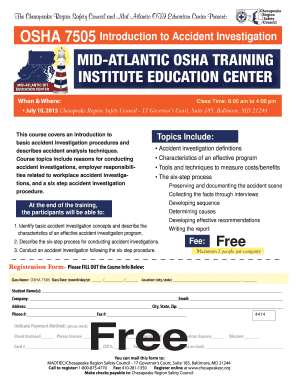 osha75052015ai the chesapeake region safety council and mid atlantic oti education center present osha 7505 introduction to accident investigation when