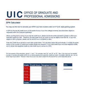 GPA Calculator - Office of the Registrar - registrar uic