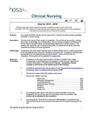 Fillable Online Hosa Clinical Nursing Hosa Hosa Fax Email Print Pdffiller