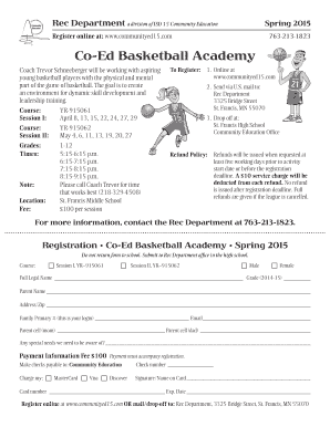 Free basketball registration form template edit fill out coed basketball academy pronofoot35fo Choice Image