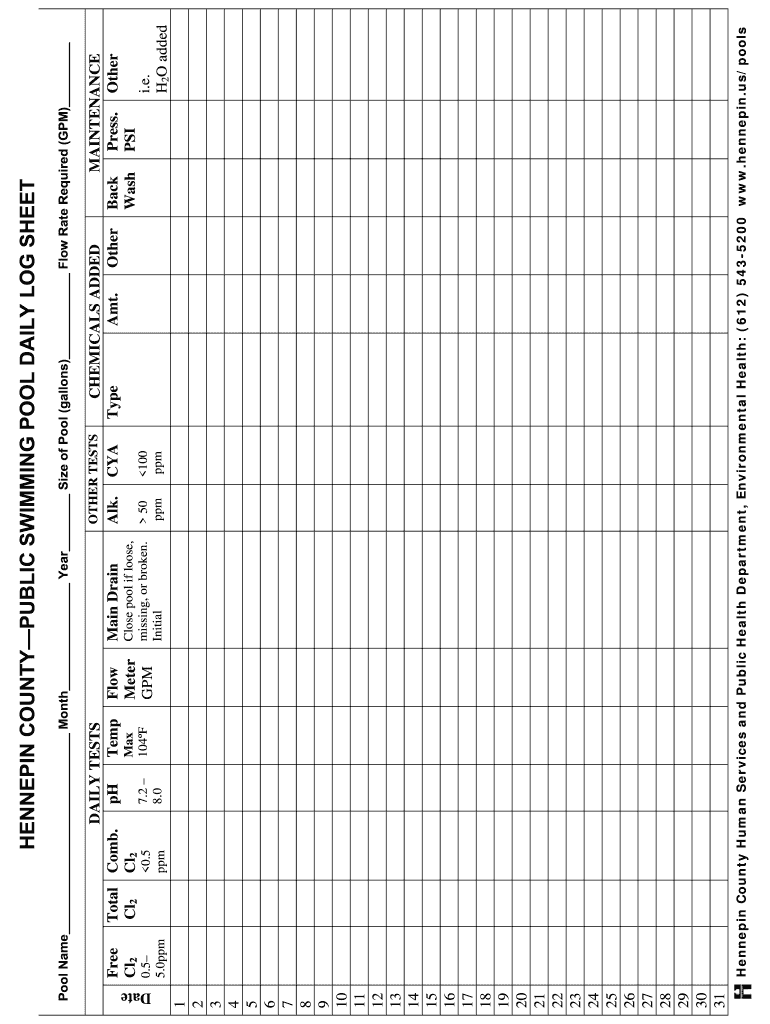 Pool Chemical Log Sheet Fill Online Printable Fillable