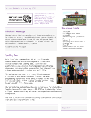 School Bulletin January 2015 Principal's Message Spelling Bee ... - puukukui k12 hi