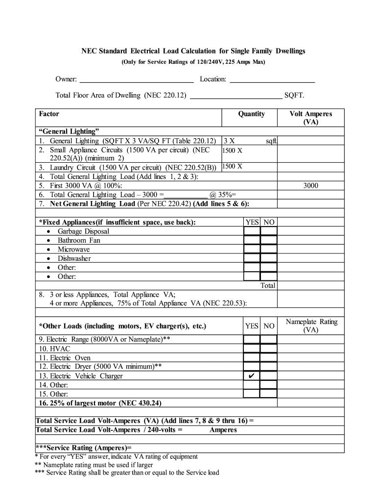 21+ Nec load calculation worksheet Education