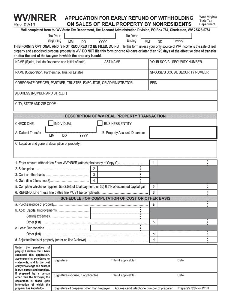 2013-2020 Form WV WV/NRER Fill Online, Printable, Fillable ...