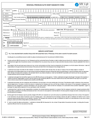 Sbi Life Insurance Auto Debit Form
