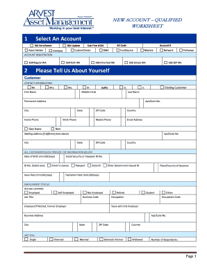 New Account Worksheet (Qualified) - Arvest Bank Fill Online
