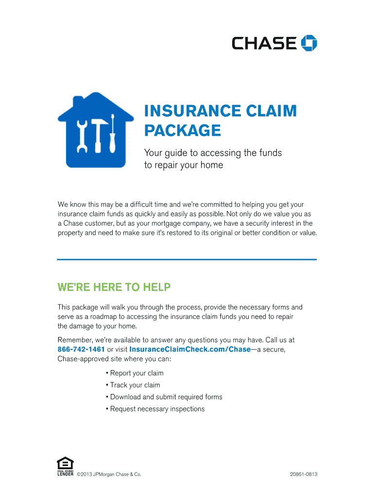 Fillable Online Chase Insurance Claim Package Fax Email ...