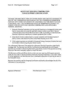 Fillable Online kyhousing Form 32 - Child Support Certification ...