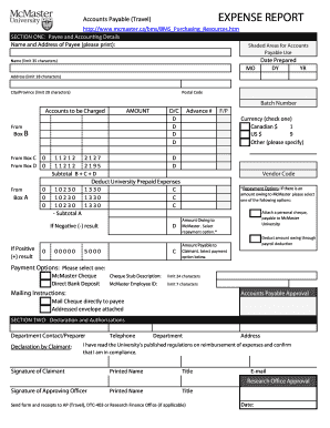 Expense Report Form - McMaster University