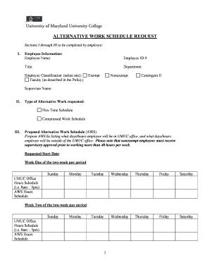 Fillable Online umuc Alternative Work Schedule Request Form - UMUC ...