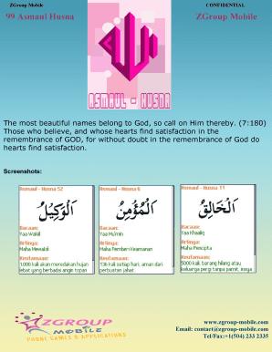 Fillable Online 99 Asmaul Husna ZGroup Mobile