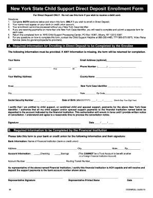 Fillable Online Direct Deposit Enrollment Form - New York Child ...