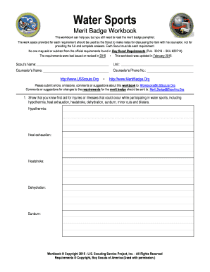 Water Sports Merit Badge Worksheet - Onvacations Image