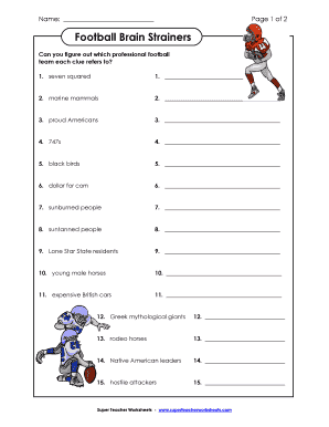 football brain strainers Football Brain Strainers - Fill Online, Printable, Fillable, Blank ...