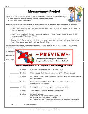 Fillable Online Measurement Project - Super Teacher Worksheets Fax ...